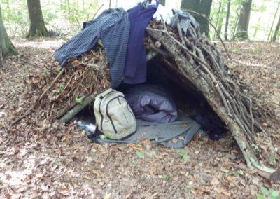 Impressionen Natur Pur Wildniscamp Schlafplatz in der Laubhütte
